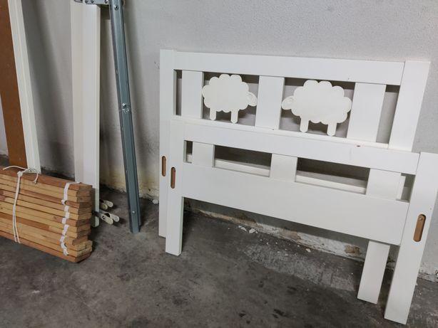 Cama de criança ikea branca 160x70 com colchão