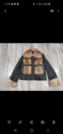 Nowa kurtka ze skóry naturalnej z lisem