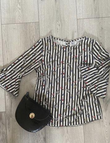 Bluzka koszula w kwiatki paski