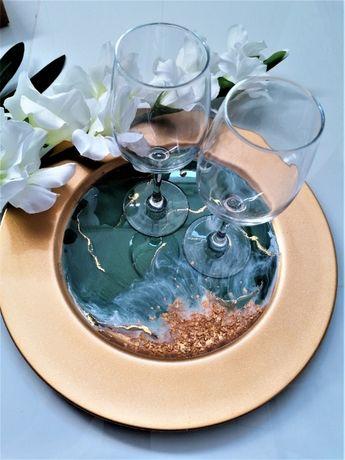 Taca dekoracyjna z żywicy epoksydowej Szmaragdowo złota decoczar