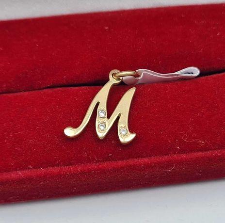 Złota Zawieszka literka: 'M' 0,90g p585 Lombard66