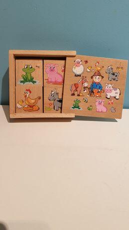 Klocki puzzle drewniane