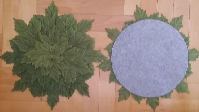 serwetki ozdobne ozdoba z liści zielone okrągłe filcowy spód, za 2szt