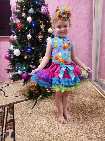 Новогодний костюм конфетка, карамелька, платье на утренник Прокат