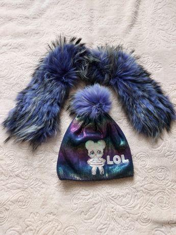 продам воротник с шапкой натуральный мех енота
