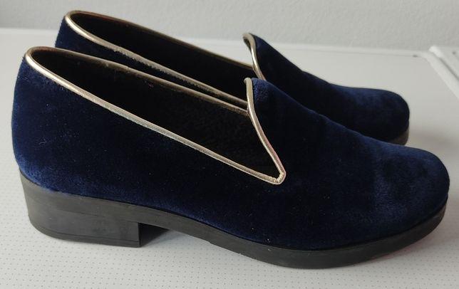 sapatos azuis veludo