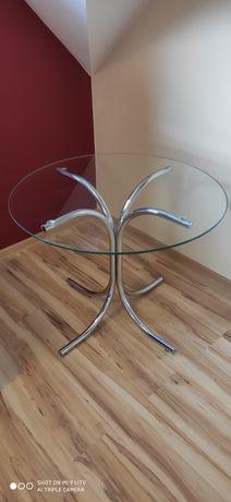 Stolik szklany  nogi chromowane