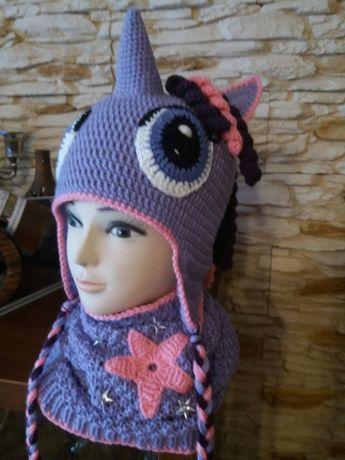 Czapka My Little Pony -Twiling Sparkle ręcznie robiona na szydełku