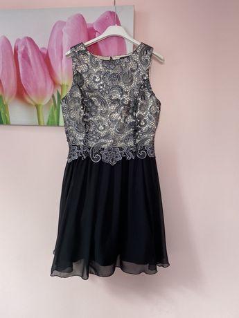 Czarno złota sukienka na imprezę urodziny osiemnastkę m