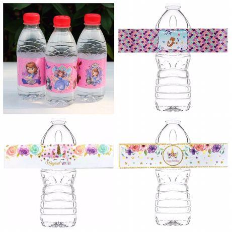 Этикетки на бутылку для води, сока на день рождения в разных тематиках