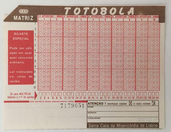 Bilhete especial do Totobola (anos 70-80)