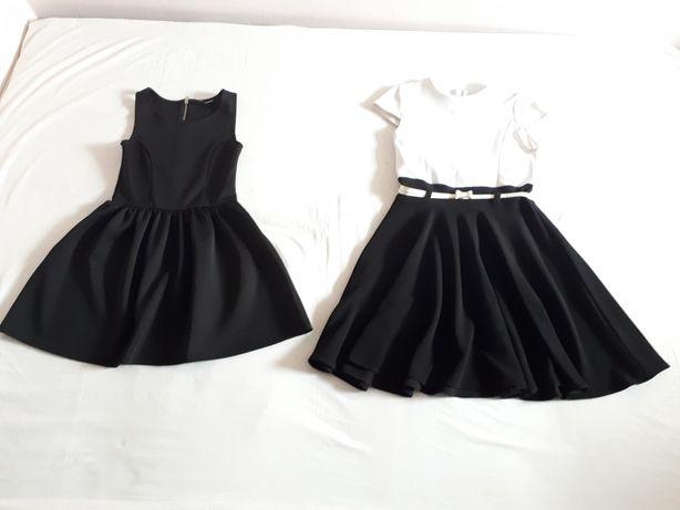 H&M czarna sukienka rozkloszowana, biało czarna sukienka z paskiem