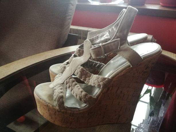 piękne buty na koturnie roz.37