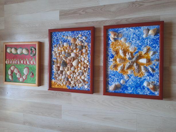 Obrazy muszle 3 sztuki