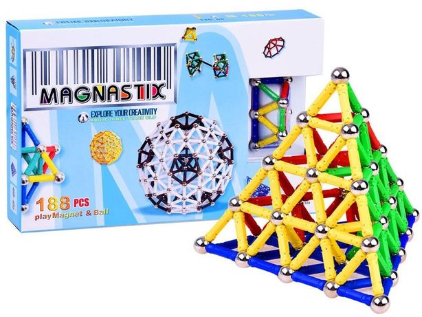 Klocki Magnetyczne MAGNASTIX 188 elementów ZA0082