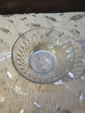 Salaretka okrągła, kryształ, szklana