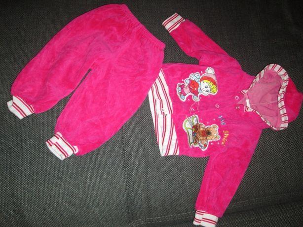 Komplet bluza + spodnie ciemny róż/fuksja, welur, stan BDB, r.74