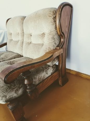 Sofa debowa, holenderska 2+1