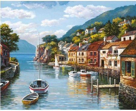 """"""" port łódki rzeka jezioro """" obraz do malowania po numerach"""