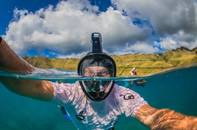 Маска для подводного плавания снорклинга полнолицевая. Новая