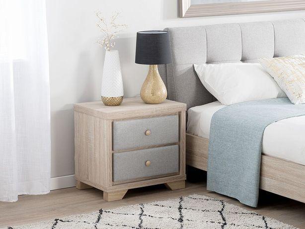 Mesa de cabeceira de madeira clara com cinza com 2 gavetas BERCK - Beliani