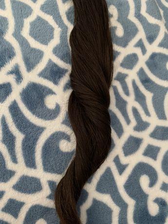 Włosy naturalne 45cm ciemny brąz