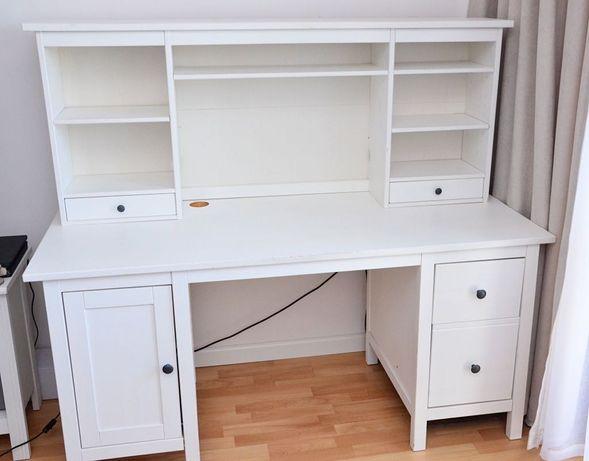 Biurko z nadstawką Ikea Hemnes biała bejca