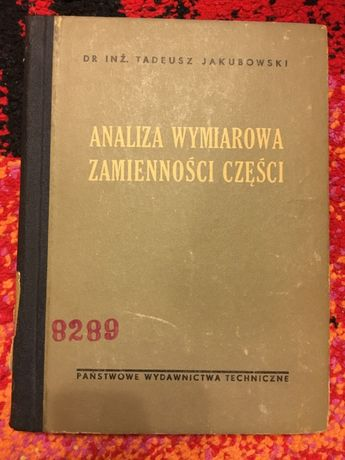 ANALIZA WYMIAROWA ZAMIENNOŚCI Części 1954 Jakubowski Ksiązk Techniczne
