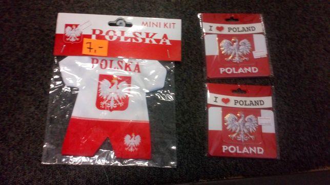 Gadżety kibica Polska flagi pokrowce szaliki opaski magnesy nowe