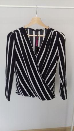 Czarna bluzka w białe paski - NOWA Mohito