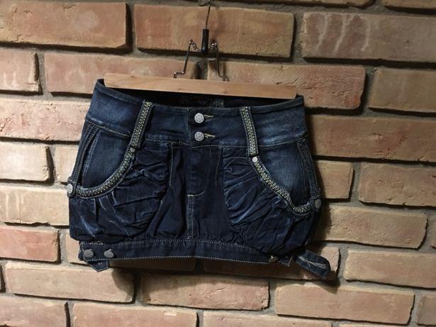 Spódniczka jeansowa bojówka mini
