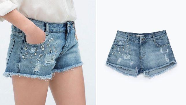 ZARA krótkie spodenki jeansowe szorty z aplikacją S 36 jak nowe OKAZJA