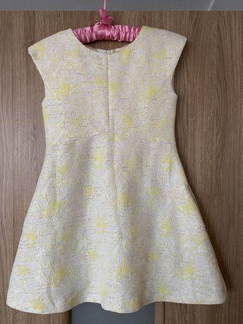 Sukienka faktura biało żółta