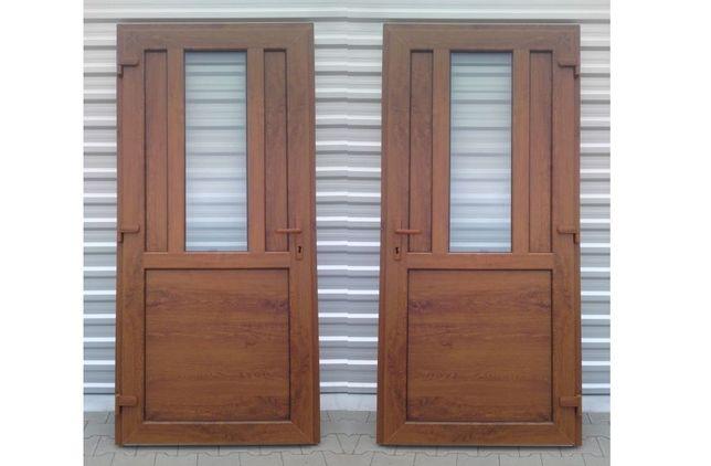 Drzwi zewnętrzne PCV 100x210 złoty dąb różne rozmiary od ręki TRANSPOR