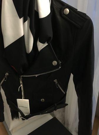 Ramoneska skórzana kurtka Balenciaga czarna