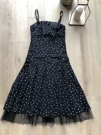 Sukienka czarna w białe grochy S retro styl