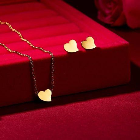 *SERCA* Przepiękny Złoty Komplet Biżuterii Naszyjnik + Kolczyki