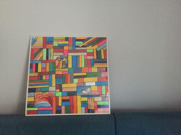 Obraz abstrakcja ręcznie malowany 70x70