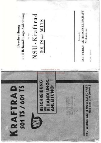 Katalog części motocykla NSU 501 TS 601 TS