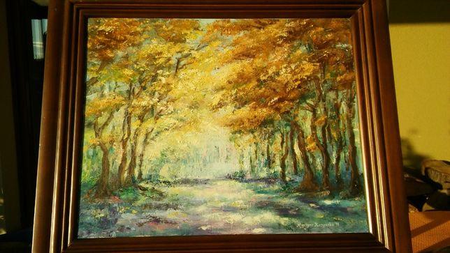 """obraz olejny w drewnianej ramie """"las"""""""