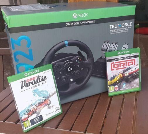 Kierownica logitech G923 + 2 gry GRID i BURNOUT Paradise Xbox One S