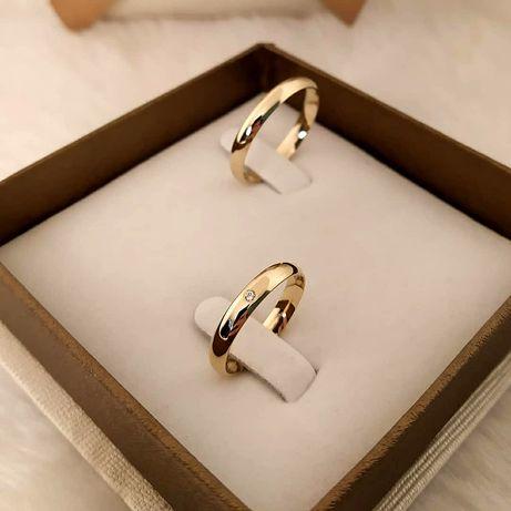 Krystaliczna Cyrkonia Piękna Para Złotych Obrączek Ślubnych