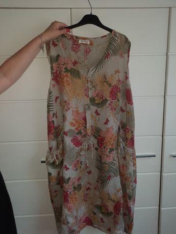 Włoska lniana sukienka maxi r.44