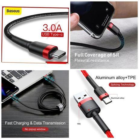 Cabo USB P/ Type C -3A- Original Baseus - 1Mts -Preto-C/Caixa-24h