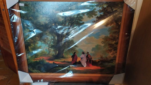 Obraz religijny droga do emaus Jezus 57x37