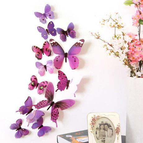 Комплект-бабочки на стену - 12 шт. / 3D-стикеры, наклейки