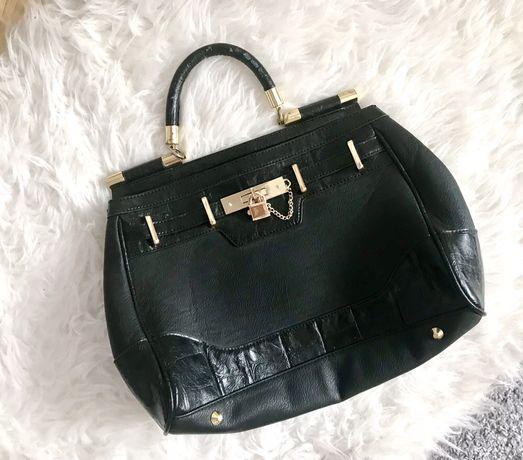 RI River Island retro vintage czarna torebka torba a la Hermes okucia