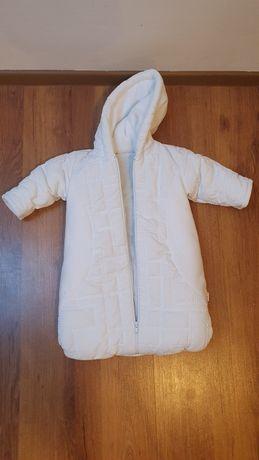 Śpiworek, ubranko, kombinezon na chrzest + szalik.