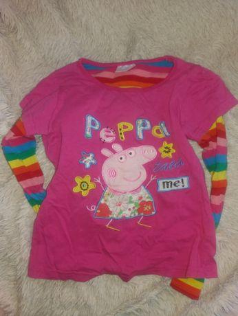 Реглан футболка Свинка Пеппа хлопок на девочку 3-5 лет