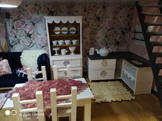 Domek dla lalek, drewniany domek z wyposażeniem, duży,
